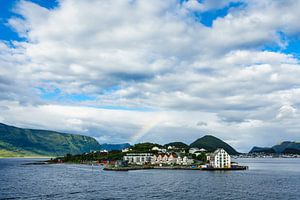 View to the city Alesund in Norway