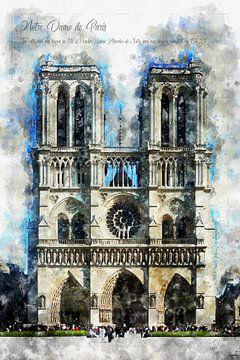 Notre Dame, aquarel, Parijs van Theodor Decker