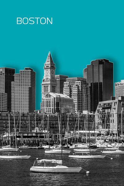 BOSTON Skyline | Graphic Art | turkoois van Melanie Viola