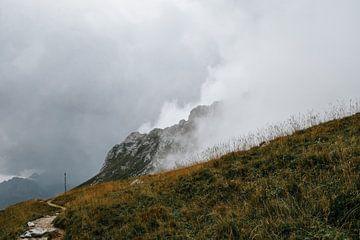 Bergpad in de mist. van Prisca Visser