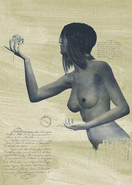 Erotik nackt - Eine nackte Frau mit einer Blume in der Hand. von Jan Keteleer