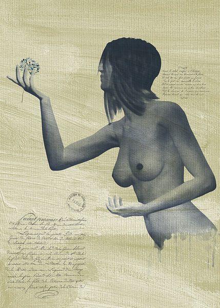 Erotisch naakt - een naakte vrouw met een bloem in haar hand. van Jan Keteleer