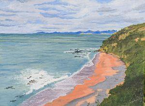 New Zealand, Zuidereiland. Acryl schilderij van Marlies Huijzer.