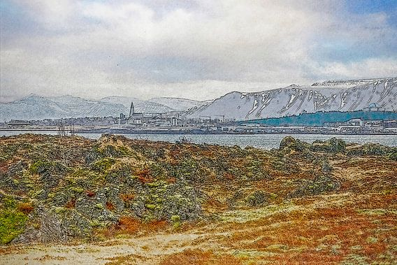 Uitzicht op Reykjavik, IJsland