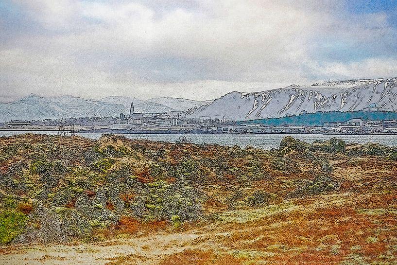 Uitzicht op Reykjavik, IJsland van Frans Blok