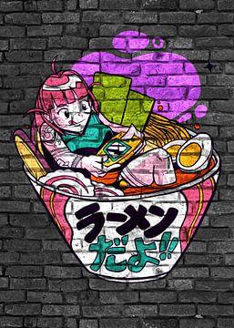 Anime Mädchen zocken  Ramen Noodles von KalliDesignShop