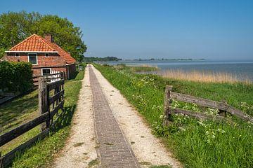 Ein Weg entlang des Deiches in der Nähe des Wattensees, mit einem Bauernhof auf der linken Seite der von Anges van der Logt