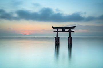 Torii-Tor am Biwa-See in Japan von Anges van der Logt