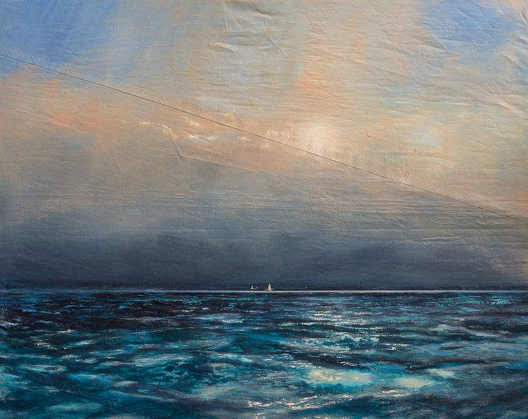 On a night when the lazy wind is wailing, the single handed sailor sails away in the dark van Bert Oosthout