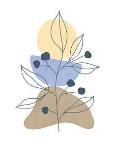 Minimalistisches Design mit einer Blattpflanze und organischen Formen in hellen Farben von Tanja Udelhofen