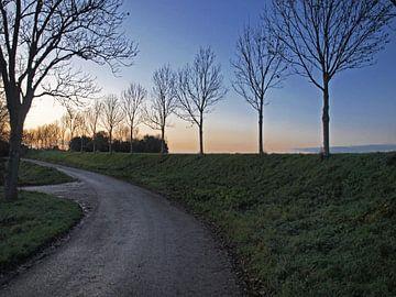 Dijk bij zonsondergang van Rinke Velds
