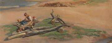 Frau und Kind am Flussufer, Johan Christian Dahl