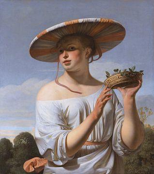 Mädchen mit großem Hut - Caesar van Everdingen