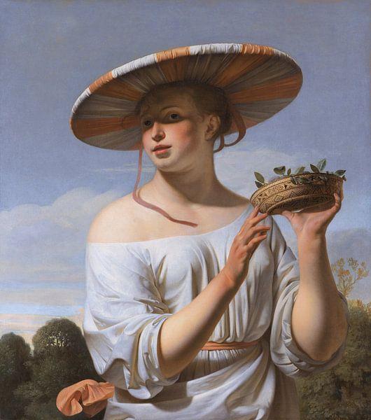 Caesar van Everdingen. Meisje met brede hoed van 1000 Schilderijen