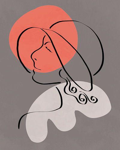 Lijntekening van een vrouw met hoed met twee organische vormen in licht rood en grijs