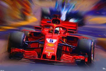 Sebastian Vettel #5 - Monaco 2018 van Jean-Louis Glineur alias DeVerviers