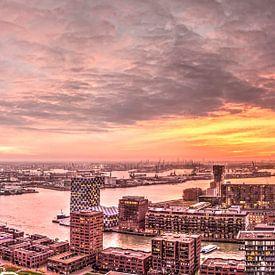Panorama zonsondergang Rotterdam van Frans Blok