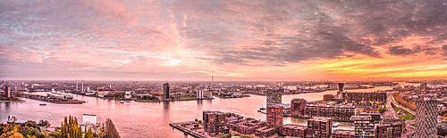 Panorama zonsondergang Rotterdam