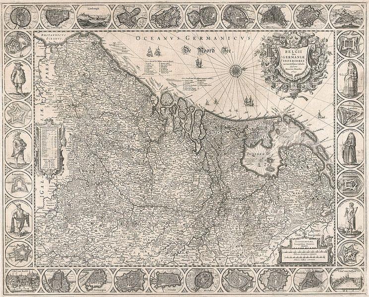 Kaart van de Nederlanden van omstreeks 1631 van Gert Hilbink