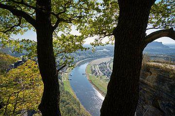 Uitzicht vanaf de Bastei in het Elbezandsteengebergte naar het dorp Rathen van Heiko Kueverling