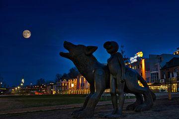Wolf bij volle maan van Machiel Zwarts