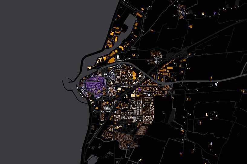 Kaart van Harlingen abstract van Stef Verdonk