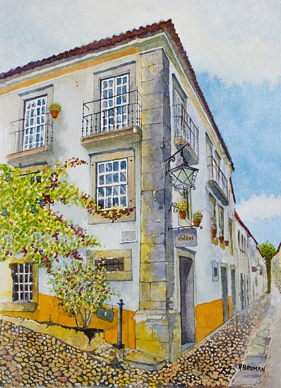 Gezellig straatje in Óbidos, Portugal | Aquarel schilderij