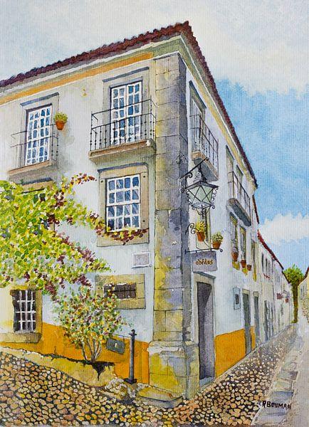 Gezellig straatje in Óbidos, Portugal | Aquarel schilderij van WatercolorWall