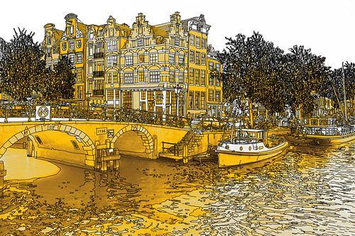 Pentekening Brouwersgracht Prinsengracht Jordaan Amsterdam Nederland Goud Tekening Lijntekening Goud