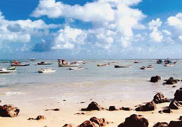 Dobberende vissersbootjes von Nannie van der Wal