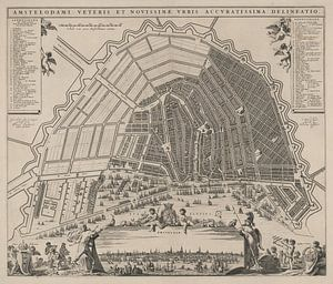 Plattegrond van Amsterdam , ca 1652