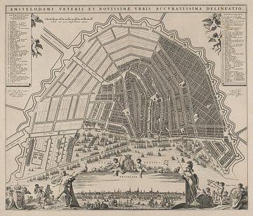 Carte d'Amsterdam avec cadre blanc, vers 1652 sur Gert Hilbink