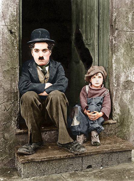 Charlie Chaplin & The Kid (1921) van Colourful History