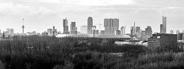De Kuip Feyenoord Rotterdam mit den Lichtern Schwarzweiss von Midi010 Fotografie