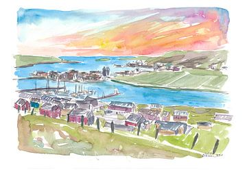 Scalloway Shetland Bay en uitzicht op de stad in de middag van Markus Bleichner