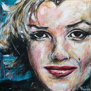 Portret  schilderij van Marilyn Monroe. van Therese Brals