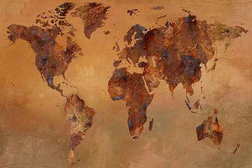Landkaart met roest van Carla van Zomeren