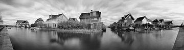 Panorama De Watertuinen zwart wit sur Leo van Valkenburg