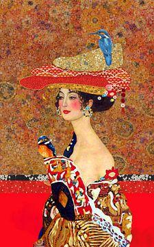 Klimt, vrouw met vogel op hoed van Nicole Habets