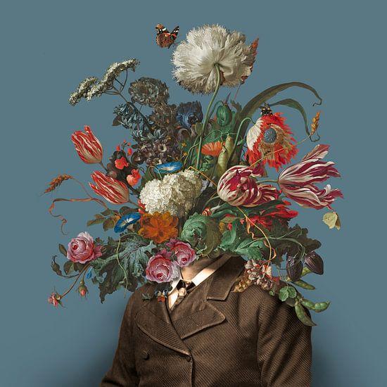 Portret van een man met een boeket bloemen (blauwgrijs / vierkant)
