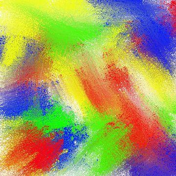 Abstract rood blauw groen geel van Maurice Dawson