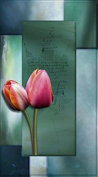 Tulpen op groen van Carla van Zomeren