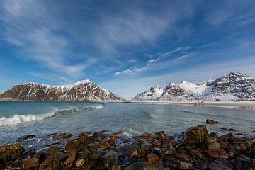 Skagsanden Beach (Lofoten) im Winter von Maik Richter