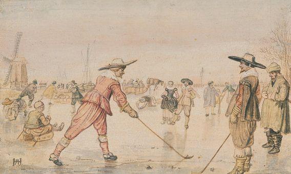 Hendrick Avercamp. Schaatsers die een golf spelen, 1615