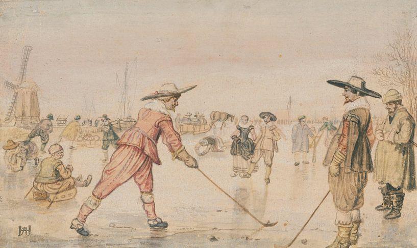 Hendrick Avercamp. Schaatsers die een golf spelen, 1615 van 1000 Schilderijen
