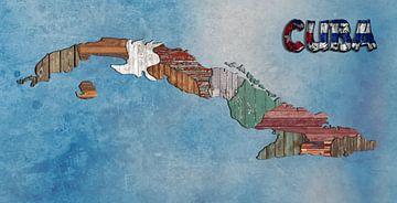 Karte Kuba Holz von Rene Ladenius Digital Art