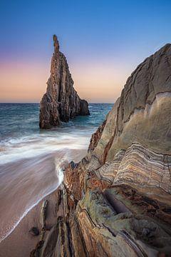 Asturien Strand Playa de Mexota zum Sonnenuntergang von Jean Claude Castor