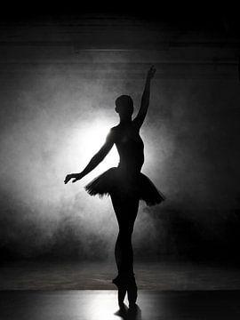 Silhouet van een ballerina in zwart-wit van Evelien Oerlemans