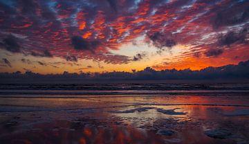 Zonsondergang, Beachclub Witsand - Noordwijk sur Van Oostrum Photography