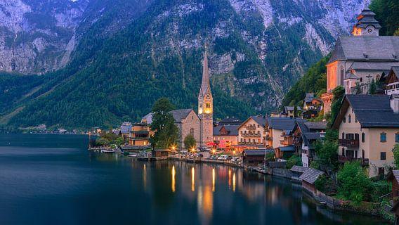 Zonsopkomst in Hallstatt, Oostenrijk
